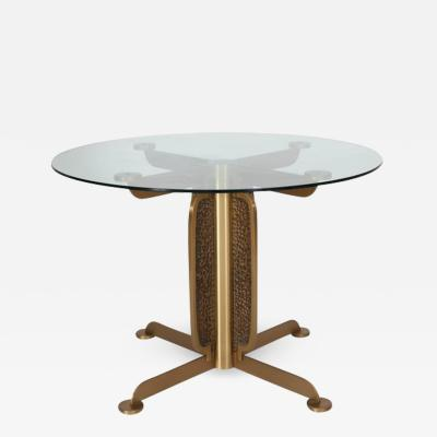 Luciano Frigerio Brass Cast Dining Table with Glass Top by Luciano Frigerio