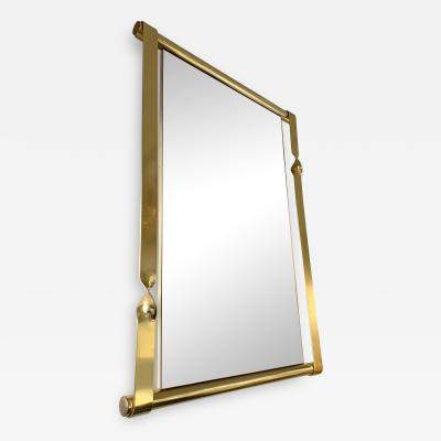 Luciano Frigerio Brass Mirror by Luciano Frigerio Italy 1970s