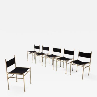 Luciano Frigerio Brass and Black Velvet Dining Chairs by Luciano Frigerio 1980s