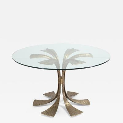 Luciano Frigerio Hollywood Regency Hammered Brass Dining Table by Luciano Frigerio 1980s
