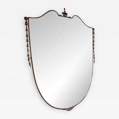 Luciano Frigerio Large Shield Italian Mirror With Coronet Detail