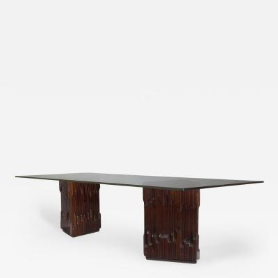 Luciano Frigerio Long Carved Mahogany Dining Table by Frigerio 1970s
