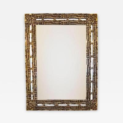 Luciano Frigerio Luciano Frigerio Mid Century Modernist Wall Mirror in Cast Bronze