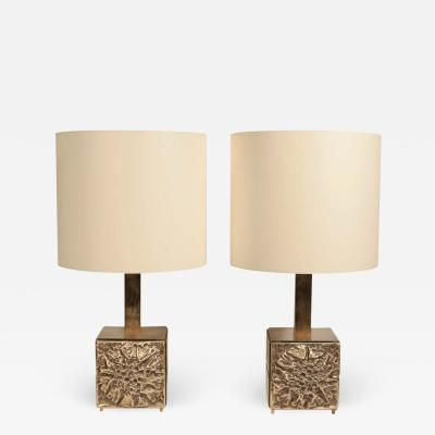Luciano Frigerio PAIR OF 1970S BRONZED BRASS TABLE LAMPS BY FRIGERIO