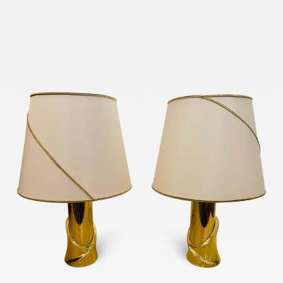 Luciano Frigerio Pair of 1980s Italian Luciano Frigerio Bronze Lamps