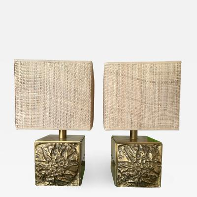 Luciano Frigerio Pair of Brass Lamps by Luciano Frigerio Italy 1970s