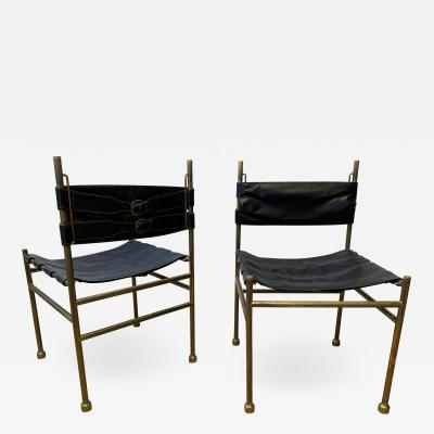 Luciano Frigerio Pair of Chair Brass and Leather by Frigerio Italy 1970s