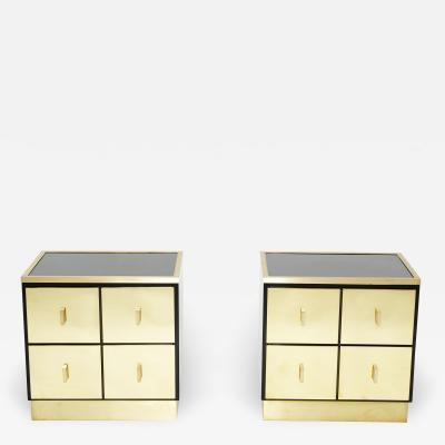 Luciano Frigerio Pair of Italian Luciano Frigerio black lacquered brass nightstands tables 1970s