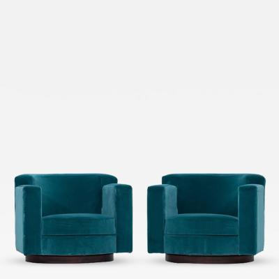 Luciano Frigerio Pair of Luciano Frigerio Blue Velvet Lounge Swivel Chairs
