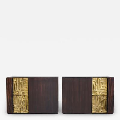Luciano Frigerio Pair of Macassar Ebony Credenzas with Bronze Details by Luciano Frigerio
