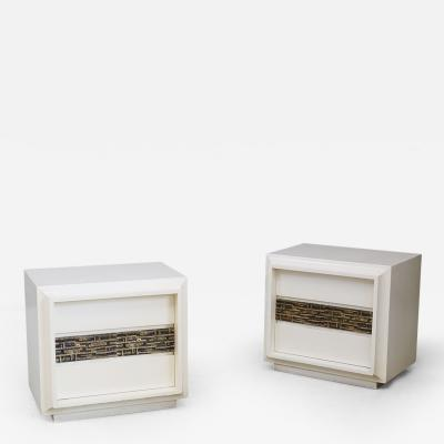 Luciano Frigerio Pair of sculptural bedside by Luciano Frigerio in white wood and brass 1970s