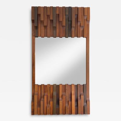 Luciano Frigerio Wood Mirror by Luciano Frigerio Italy 1970s