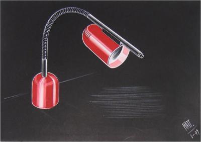 Luciano Mattioli 1979 Italian Design Drawing for a Desk Light Project by Luciano Mattioli