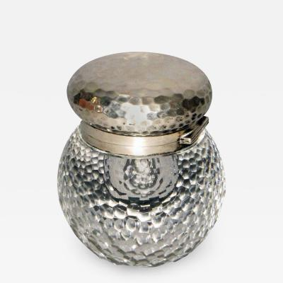 Lucien Gaillard Rare inkwell in carved crystal and worked silver by Lucien Gaillard