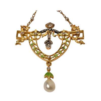 Lucien Gautrait French Art Nouveau Gautrait 18 Karat Enamel Diamond Pearl Necklace