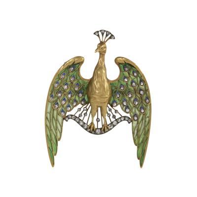 Lucien Gautrait Lucien Gautrait Art Nouveau Diamond Peacock Pendant Brooch