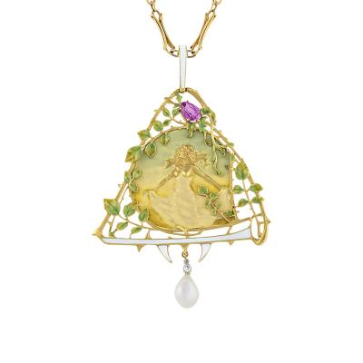 Lucien Gautrait Lucien Gautrait French Art Nouveau Gold Pendant with Sapphire Diamonds Pearl