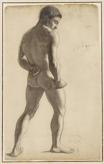 Lucien Laurent Gsell Large Charcoal on Paper Drawing of a Male Nude