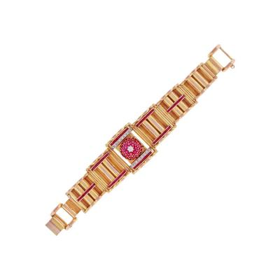 Lucien Piccard Retro Modern Ruby and Diamond Covered Bracelet Watch