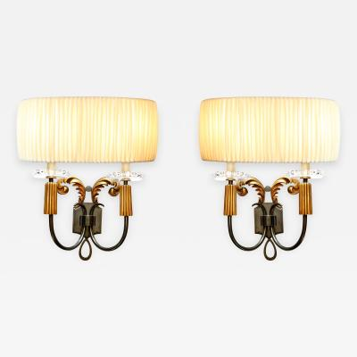 Lucien Rollin Elegant Pair of 1940s French Bronze Sconces