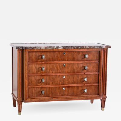 Lucien Rollin Lucien Rollin Commode with Rosewood Marquetry and Red Marble Top France 1945