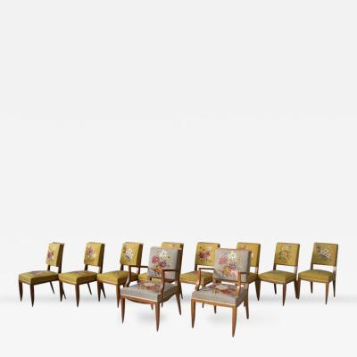Lucien Rollin Set of 8 Fine French Art Deco Side and 2 Armchairs by Lucien Rollin