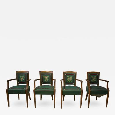 Lucien Rollin Set of Four Fine French Art Deco Bridge Chairs by Lucien Rollin