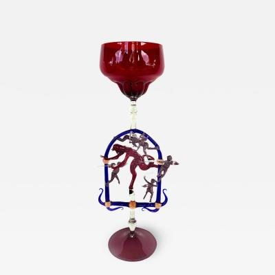 Lucio Bubacco Goblet by Master Glass Blower Lucio Bubacco Depicting Good Evil
