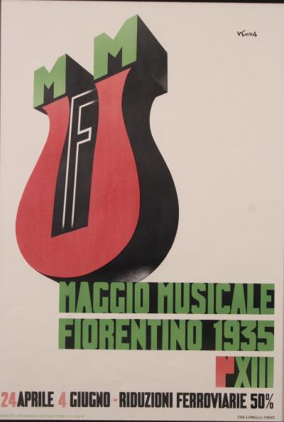 Lucio Venna Italian Futurist Style Stone Lithograph Poster by Lucio Venna 1935