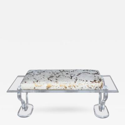 Lucite Bench with Gold Splatter Cowhide Upholstery