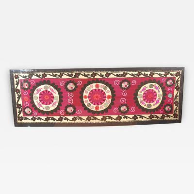 Lucite Framed Embroidered Antique Uzbek Suzani