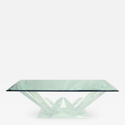 Lucite Glacier Iceberg Sculptural Coffee Cocktail Table Glass Top