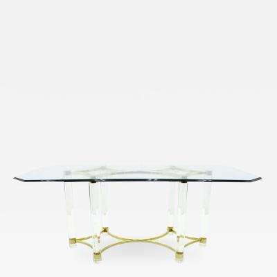 Lucite Glass and Brass Dining Table Romeo Paris 1980