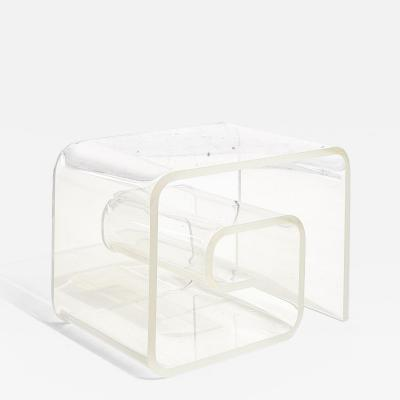 Lucite Scroll End Table 1970