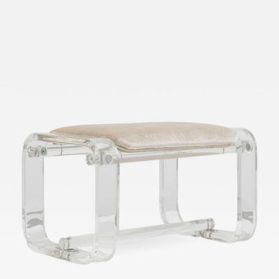 Lucite Stool with Ivory Upholstery 1970s