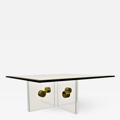 Lucite and Brass Bolt Coffee Table
