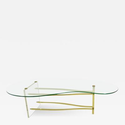 Lucite and Brass Cocktail Table