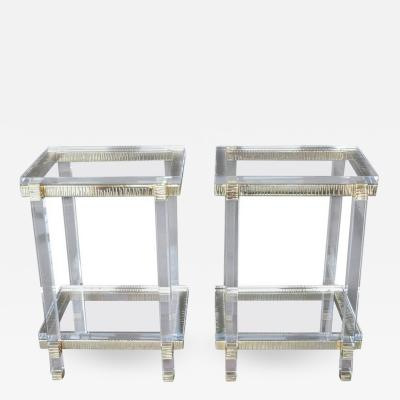 Lucite and Brass Side Cocktail Tables