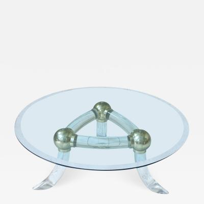 Lucite and Brass Tusk Round Coffee Table Italy 1970s
