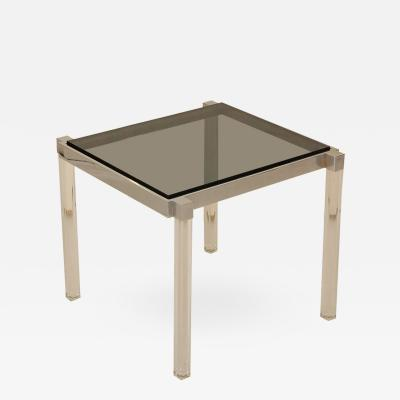 Lucite and Chrome Side Table with Smoked Glass Top