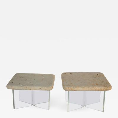 Lucite and Fossil Stone Pair of Side Tables 1970s