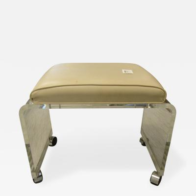 Lucite and Leather Ottoman Bench