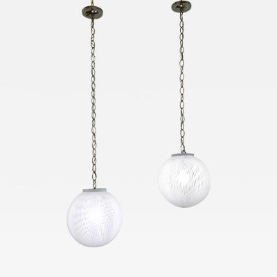 Ludovico Diaz de Santillana De Santillana 1970s Italian Pair of White Murano Glass Globe Pendants by Venini