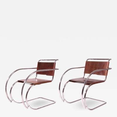 Ludwig Mies Van Der Rohe Armchairs by Mies Van Der Rohe Imported by Stendig