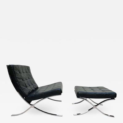 Ludwig Mies Van Der Rohe Barcelona Chair with Ottoman Black Leather Knoll International 1960s