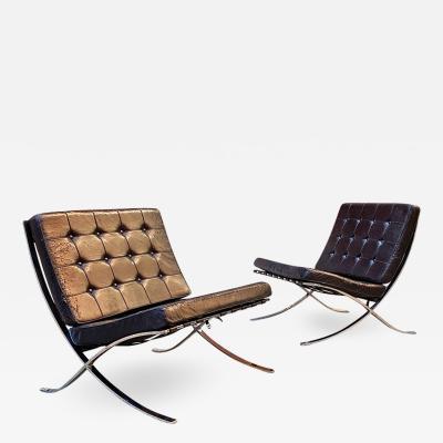 Ludwig Mies Van Der Rohe Black armchair Barcelona by Ludwig Mies van der Rohe and Lilly Reich for Knoll