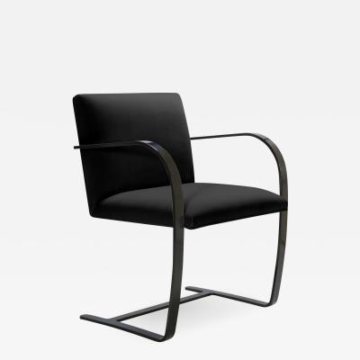 Ludwig Mies Van Der Rohe Brno Flat Bar Chair in Noir Velvet Obsidian Gloss Frame