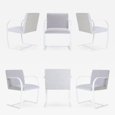 Ludwig Mies Van Der Rohe Brno Flat Bar Chairs in Dove Velvet Lunar Gloss Frame Set of 6