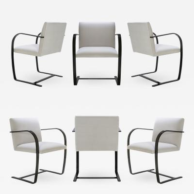 Ludwig Mies Van Der Rohe Brno Flat Bar Chairs in Dove Velvet Obsidian Gloss Frame Set of 6