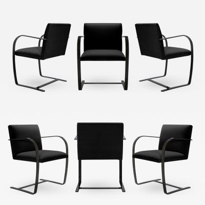 Ludwig Mies Van Der Rohe Brno Flat Bar Chairs in Noir Velvet Obsidian Gloss Frame Set of 6